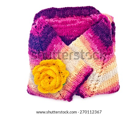 Women's knitted sweater and knitted decoration of flowers isolated on white background - stock photo