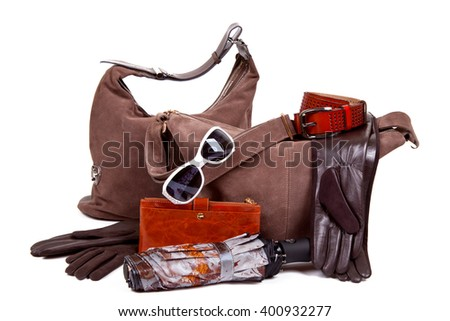 Women's leather accessories autumn. a bag - stock photo