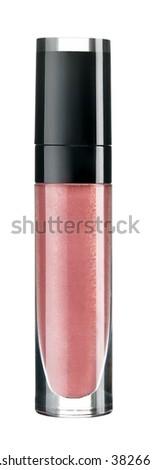Women's Lip Gloss isolated on white background - stock photo