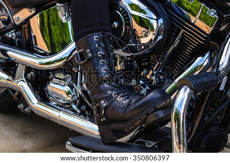 Women's Motorcycle Riders Tall Black Bikers Boot. - stock photo