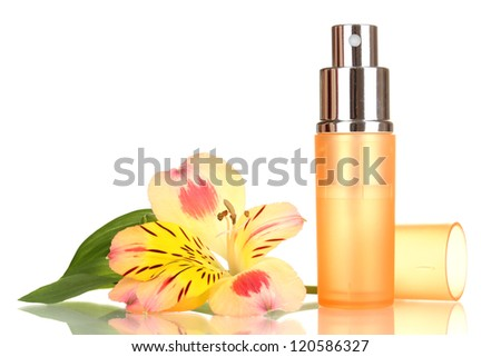 Women's perfume in beautiful bottle with flower isolated on white - stock photo