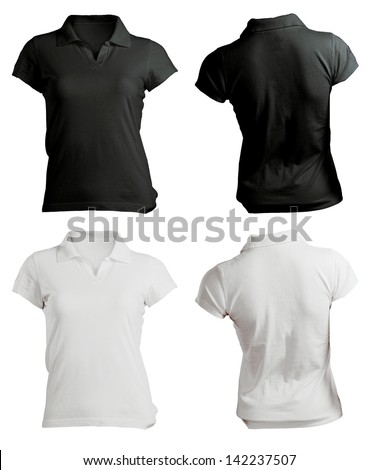 women's polo shirt template, black white, front and back - stock photo