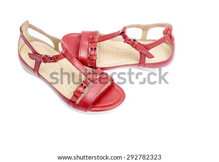 Women's Red Leather Sandals Isolated on White - stock photo