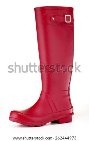 Women's Red Rain Boot - stock photo