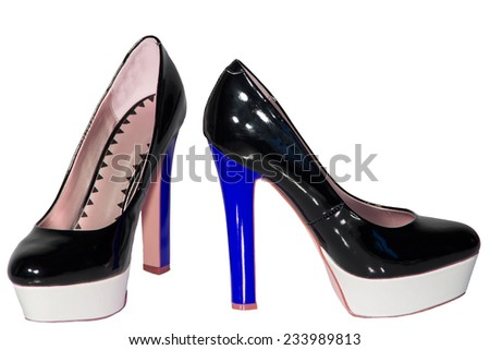 Women's shoes black patent leather blue high heel sole white isolated background one pair - stock photo
