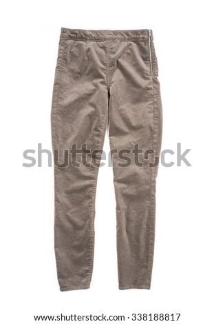 Women's Velvet Pants Isolated on White - stock photo