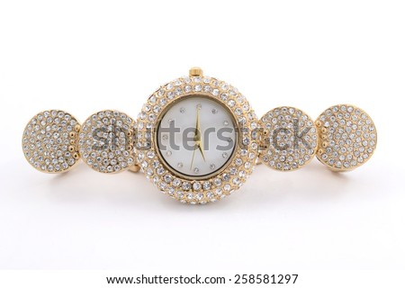 Women's Wrist gold watch with diamonds - stock photo