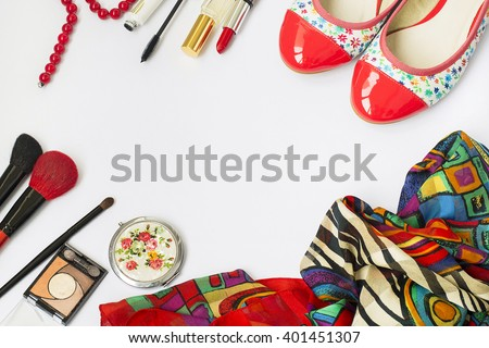 Women set of fashion accessories, shoes, cosmetics and jewelry, copy space background - stock photo