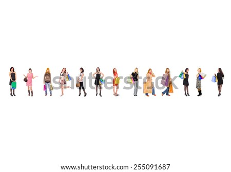 Women Shopping Bags Full  - stock photo