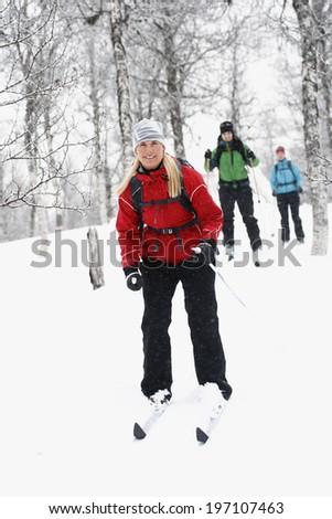 Women skiing, Vasterbotten, Lapland, Sweden - stock photo