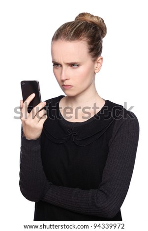 women smartphone frustrated - stock photo