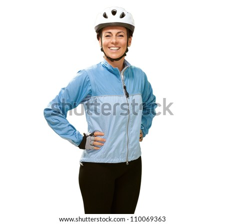 Women smiling with hands on hip isolated on white background - stock photo