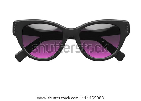 Women sunglasses isolated on white background. With clipping path. 3D render - stock photo