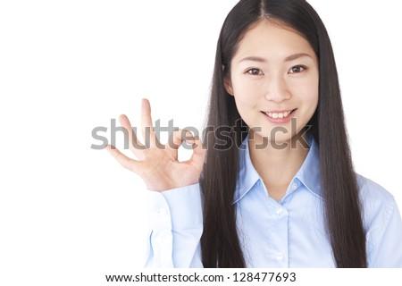 Women to the OK sign - stock photo