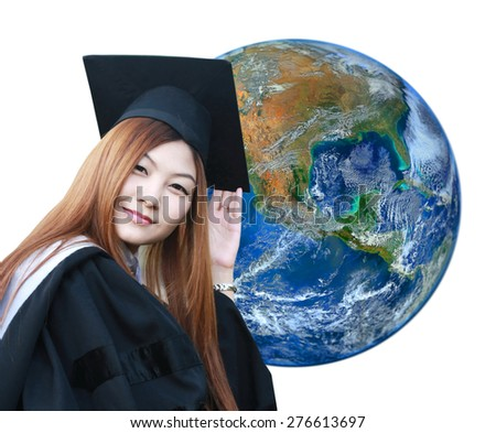 women university student and  the earth ,including elements furnished by NASA - stock photo