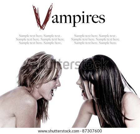Women Vampires ready to attack with Text Space above - stock photo