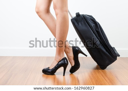 Women walking with her bag - stock photo
