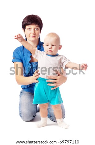 women with child isolated on white - stock photo