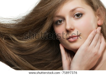 women with long hair - stock photo