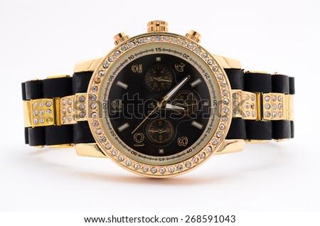 women wristwatch on a white background - stock photo
