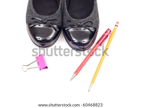 Womens Ballet Flats with Office Assets - stock photo
