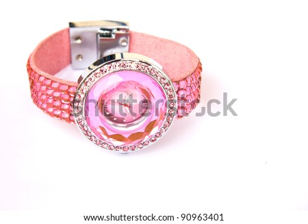 Womens Pink Crystal Watch - stock photo