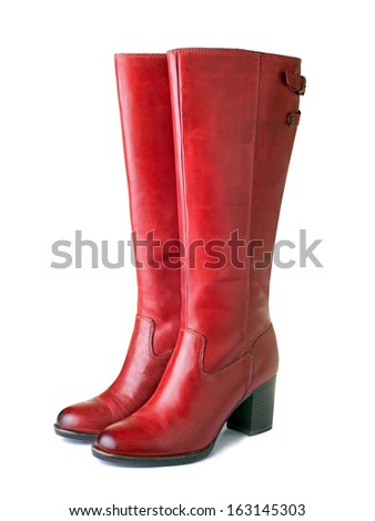 Womens red boots - stock photo