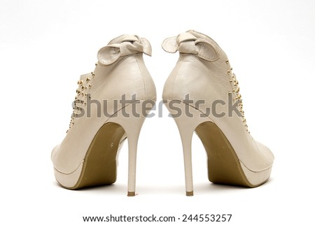 Womens Studded High Heels isolated on White Background - stock photo