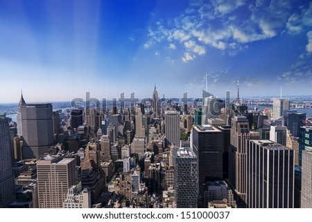 Wonderful aereal view of Manhattan Skyscrapers from helicopter. - stock photo