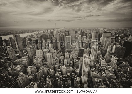 Wonderful aerial view of Midtown Manhattan skyscrapers - New York City. - stock photo