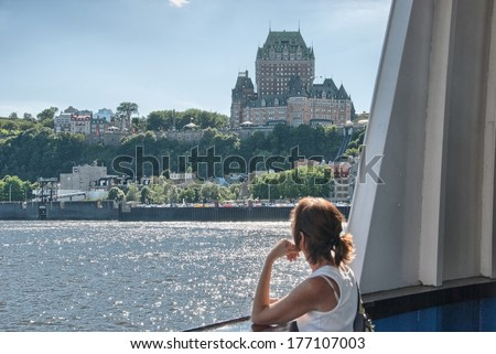 Wonderful ancient architecture of Quebec City, Canada. - stock photo