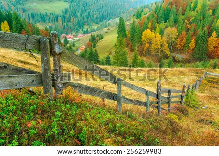 Wonderful autumn hillside in Transylvania Romania - stock photo