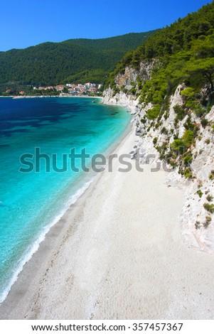 Wonderful beach of Hovolo (near Neo Klima village), Skopelos island, Greece - stock photo