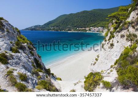 Wonderful beach of Hovolo, Skopelos island, Greece - stock photo