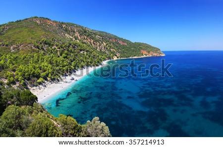 Wonderful beach scenery of Velanio, Stafilos, Skopelos island, Greece - stock photo