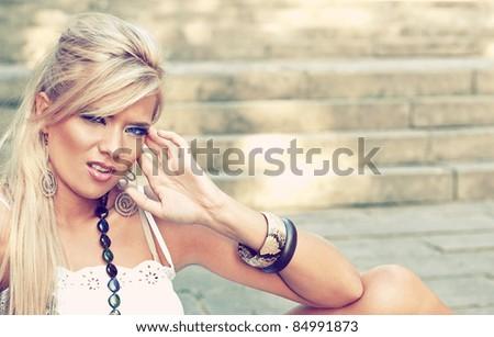 Wonderful blond women in nature - stock photo
