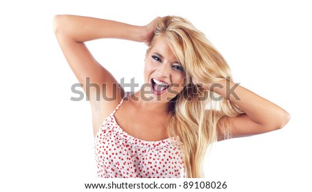 Wonderful blond women sreaming - stock photo