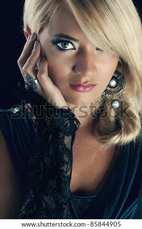 Wonderful blond women, studio shot - stock photo