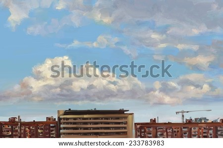 Wonderful clouds over the city. Cloudy sky and skyscrapers. Landscape. Digital painting.  - stock photo