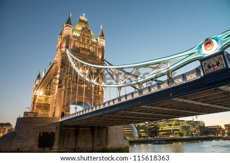 Wonderful colors and lights of Tower Bridge at Dusk - London - UK - stock photo
