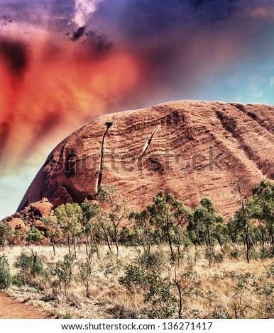 Wonderful colors of Australian Outback. - stock photo