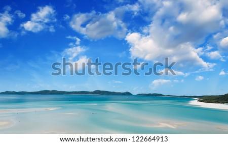 Wonderful colors of Whitsunday Islands on winter season, Australia. - stock photo