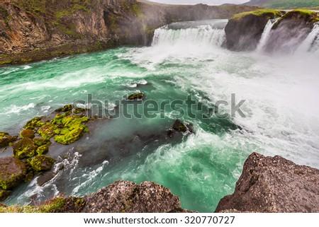 Wonderful Godafoss waterfall - stock photo