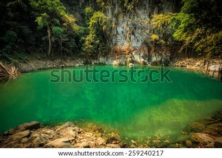wonderful lagoon in thailand, lom pu keaw lagoon lampang - stock photo
