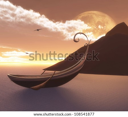 Wonderful lake at sunset with an enchanted ship - stock photo