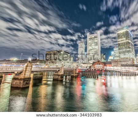 Wonderful night skyline of Boston with river reflections. - stock photo