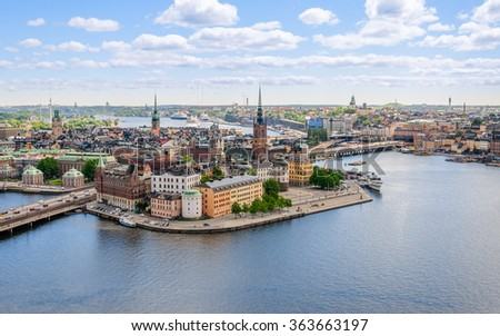 Wonderful panorama from height of bird's flight on observation deck on tower City Hall to Gamla Stan (Old Town), Stockholm, Sweden - stock photo