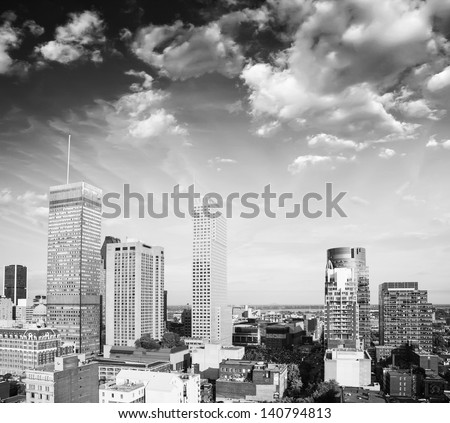 Wonderful skyscrapers of Montreal - Canada, aerial view. - stock photo