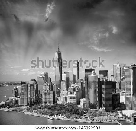 Wonderful summer sunset aerial view of lower Manhattan skyscrapers. - stock photo