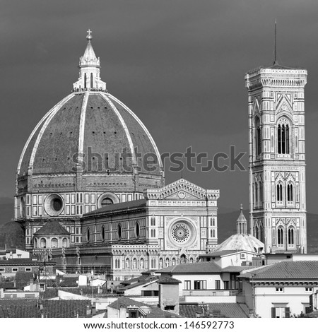 Wonderful  view of  Basilica di Santa Maria del Fiore (  Basilica of Saint Mary of the Flower )  Florence, Tuscany, Italy, Europe - stock photo
